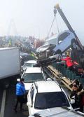 영종대교 70중 추돌사고, 뒤엉킨 차량들
