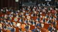 항의 팻말 붙이고 시정연설 듣는 자유한국당 의원들