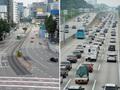 '한산한 서울 도심, 붐비는 고속도로'