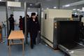 선수촌 검색대 통과하는 북한 선수단