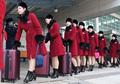 北 미녀응원단 '붉은코트에 가죽부츠'