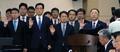 [국감] 선서하는 홍남기 경제부총리와 기재부 직원들