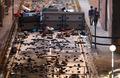 홍콩 이공계대학에 설치된 벽돌 바리게이트