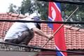 외벽 묵은 때 벗기는 북한대사관