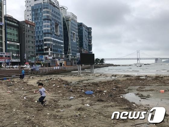 광안리 바다 뒤덮은 쓰레기