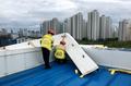 태풍 인천 강타...떨어져 나간 지붕 외벽