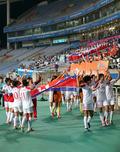 환호하는 北여자축구