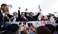 진입 못하자 항의하는 대북전단 살포단체