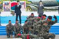 추모 퍼포먼스 펼치는 해병대 '조국은 우리가 지킨다'