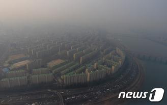 하늘에서 본 서울 미세먼지