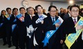 국민의례하는 당대표 최고위원 후보자들