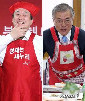 김무성 vs 문재인 '앞치마 대결'