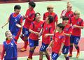 승리에 기뻐하는 한국 여자축구 대표팀