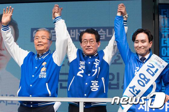 관악구민 지지 호소하는 김종인-유기홍