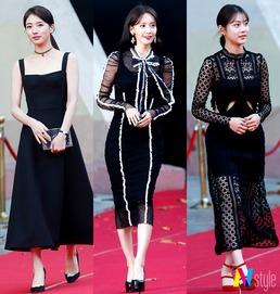 수지부터 윤아까지...'AAA 여신' 블랙 드레스 열전