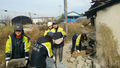 지진 복구현장에 출동한 의용소방대