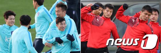 상반된 분위기의 남-북 축구 국가대표팀