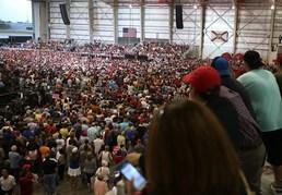 트럼프 연설에 몰린 인파