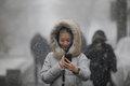 [사진] 눈 내리는 베이징에서 '셀카'