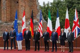 G7 정상들의 기념 촬영