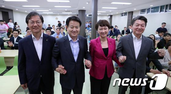 손잡은 국민의당 대표 후보들
