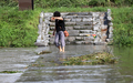 '덥고 습한 날씨에도 홀로 다리 치우는 의로운 시민'