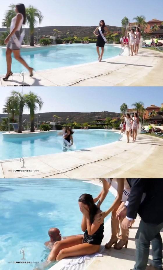 스페인 미녀, 미인대회서 캣워킹하다 풍덩 '굴욕'