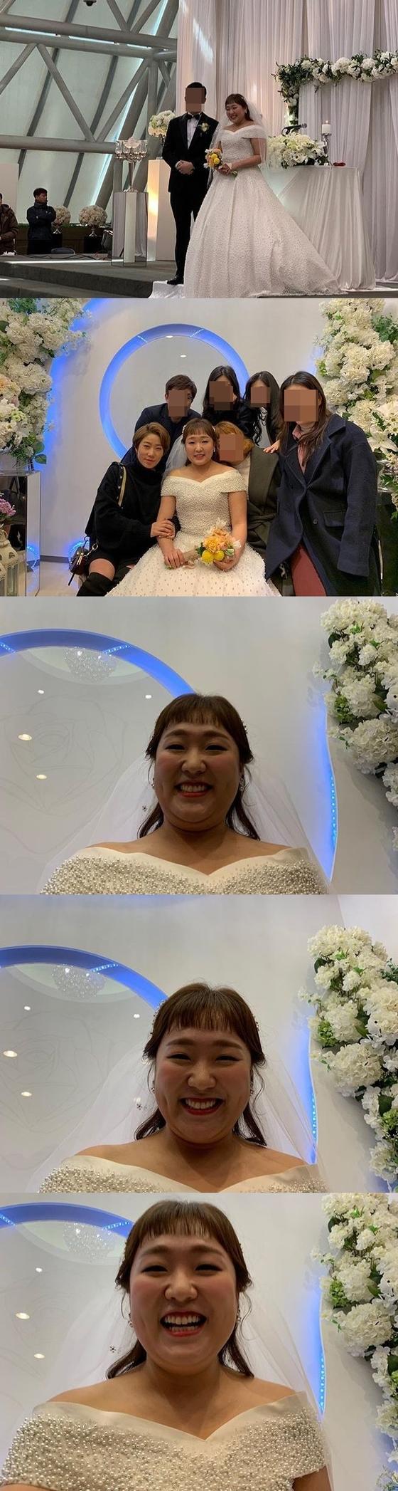 [N샷] '결혼' 이수지, 훈남 연하 신랑과 본식 사진 공개…행복한 신부