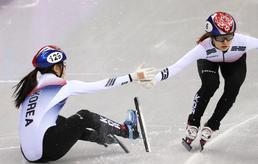 여자 쇼트트랙 계주 '넘어지고도 올림픽 기록'