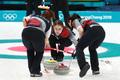일본팀 스톤 정확하게 밀어내는 대표팀
