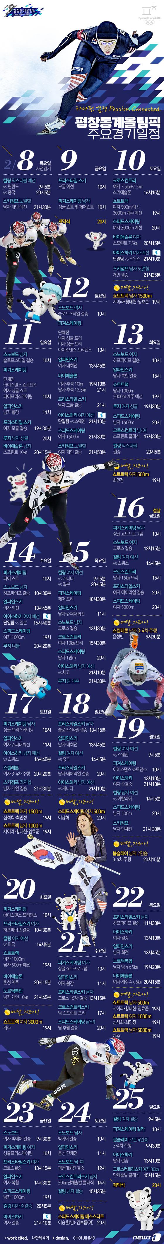 [그래픽뉴스]2018 평창올림픽 주요경기일정