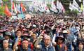 민주노총, 국회 앞에서 최저임금법 개악 저지 총파업 개최
