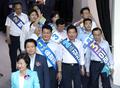 서울시당 대의원대회 참석하는 당대표·최고위원 후보들