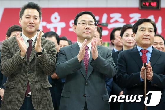 한국당 신년교례회 참석한 오세훈·주호영·심재철