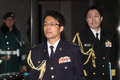 어두운 표정으로 국방부 나서는 나가시마 토루 주한 일본 무관