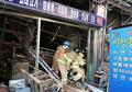 울산 농수산물시장 잔불 진압하고 있는 소방대원