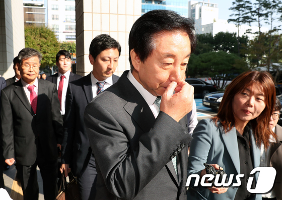 \'채용청탁의혹\' 2차 재판 출석한 김성태 의원
