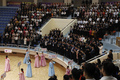 아시아 유소년·주니어 역도선수권 개막식 지켜보는 북측 시민들