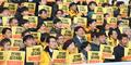 '선거법 공수처법 합의대로' 구호외치는 정의당