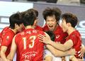 환호하는 한국전력 선수들