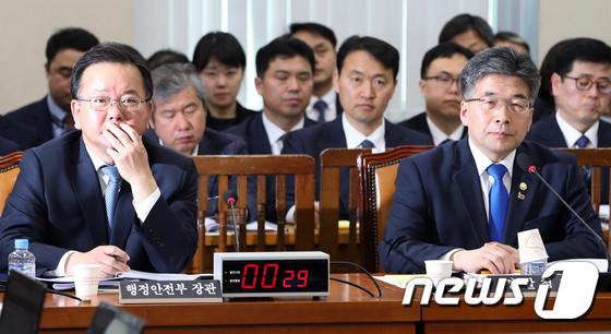'버닝썬' 질타 받는 김부겸 장관과 민갑룡 경찰청장