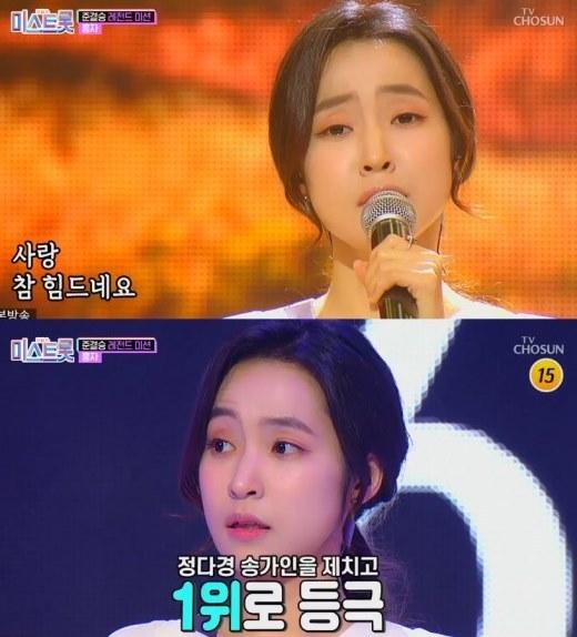 """홍자 '미스트롯' 준결승전 1위 등극…""""감정이 느껴진 무대"""" 극찬"""