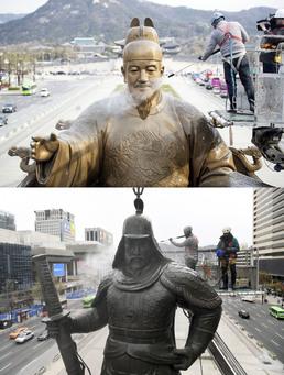 세종대왕과 이순신장군 동상, 봄맞이 물청소