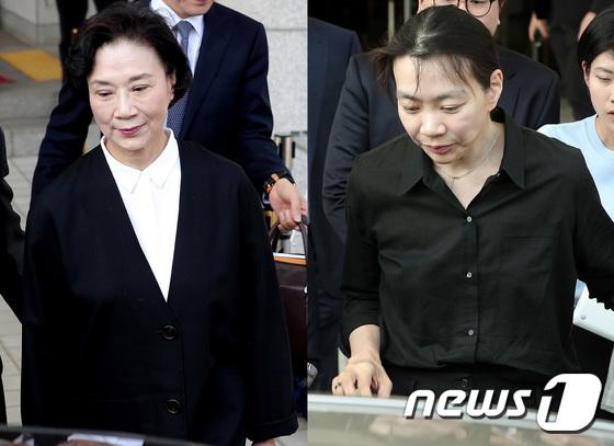 첫 재판 마친 \'밀수혐의\' 이명희·조현아 모녀