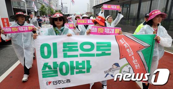 최저임금 1만원 인상 촉구 행진
