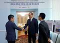 타지키스탄 에너지수자원부 장관과 환담 나누는 박재신 이사