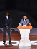 마스터즈 세계선수권 폐회선언하는 이용섭 시장