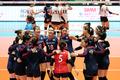 한국 여자배구 '승리의 기쁨'