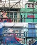 北 인공기 논란일자 천막 가려진 홍대 평양술집