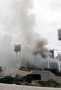 신당동 제일평화시장 화재로 피어오르는 연기